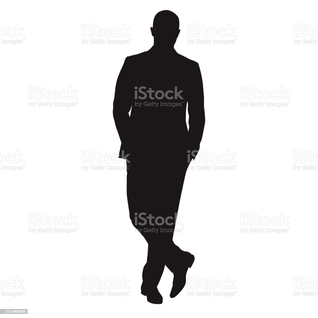 Business Man Standing With Crossed Legs Isolated Vector ...
