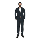 Business man standing with hands in pockets, isolated vector illustration. Business people