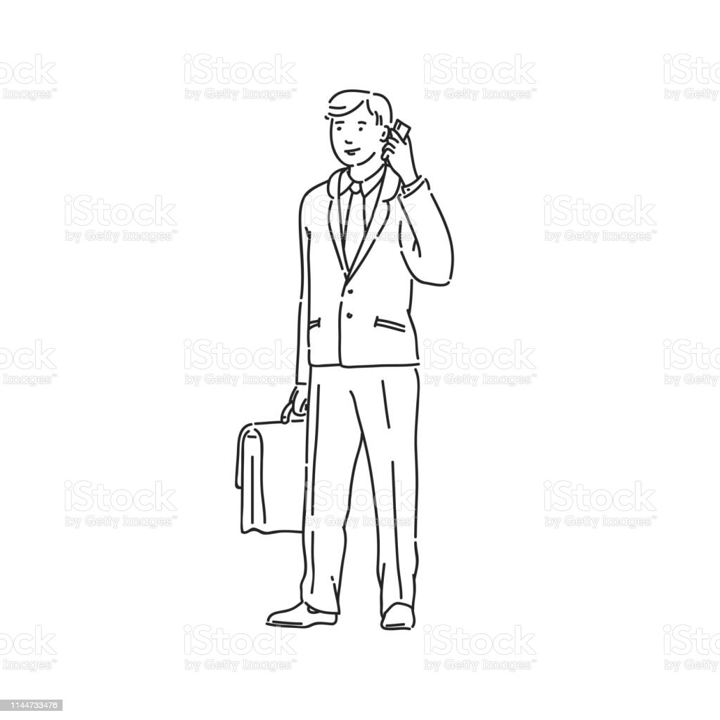 Business man talking on phone. Line art style character vector black...