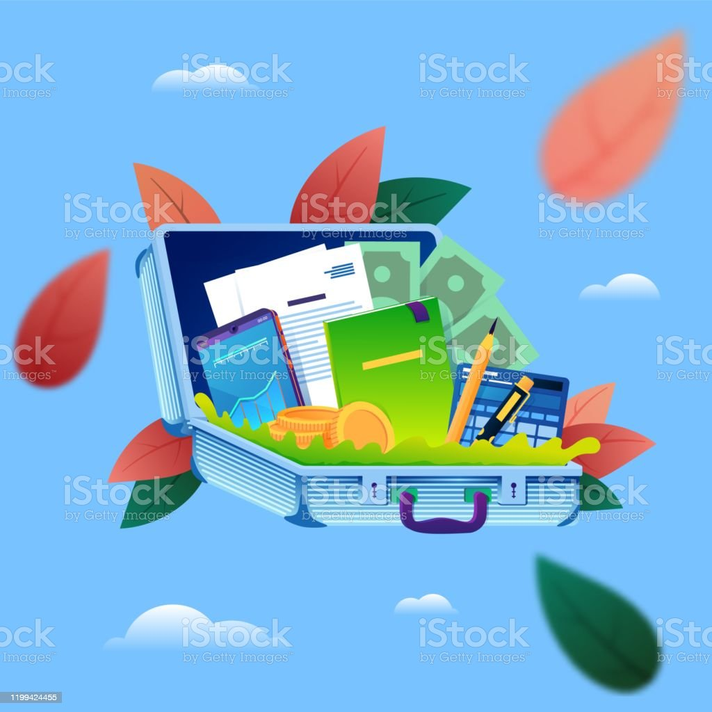 Business man tools in a case. Corporate business concept. - arte vettoriale royalty-free di Affari