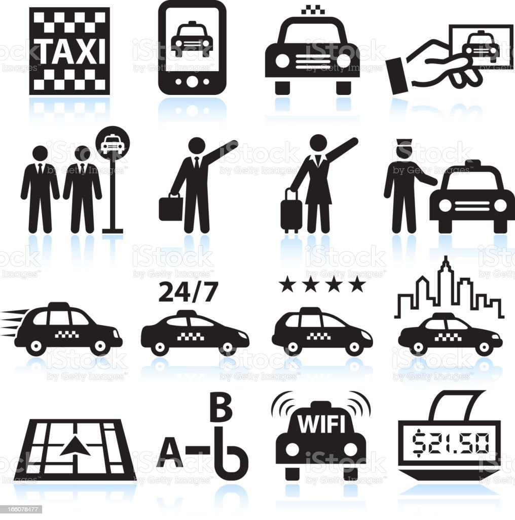 Business man travelling Taxi black & white vector icon set vector art illustration
