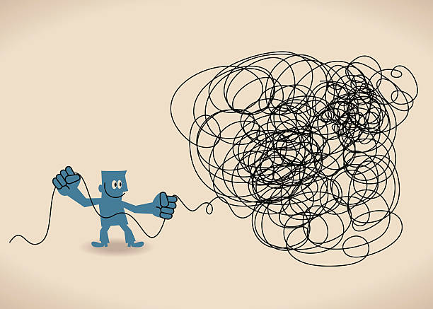 business mann untangle ein verheddert unordentlich knoten (grüne linie). - strickideen stock-grafiken, -clipart, -cartoons und -symbole