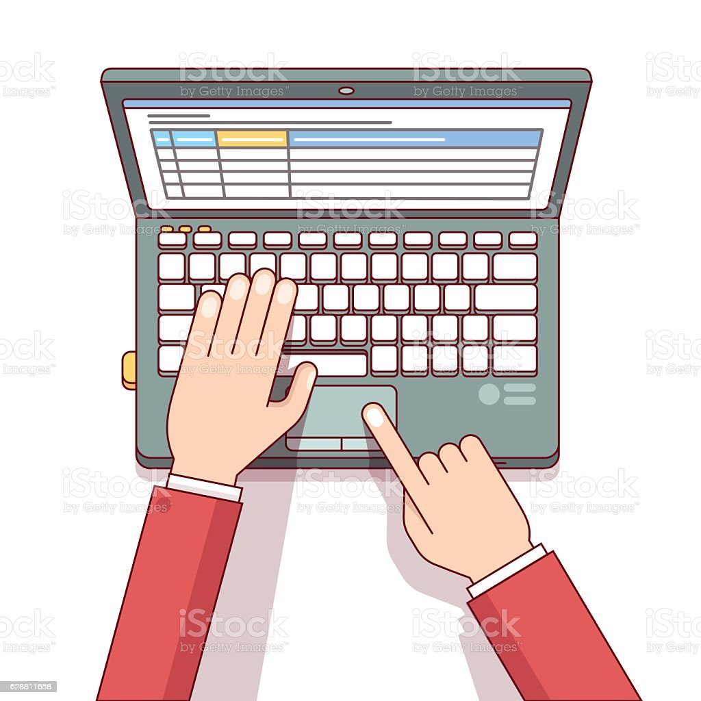 Business man using laptop to calculate something vector art illustration