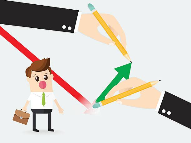 ilustrações, clipart, desenhos animados e ícones de business man using rubber delete red down line graph - desenhos aleatórios e à mão livre