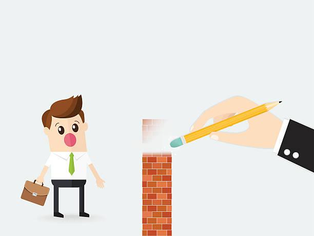 ilustrações, clipart, desenhos animados e ícones de business man using rubber delete wall obstacle for employee - desenhos aleatórios e à mão livre