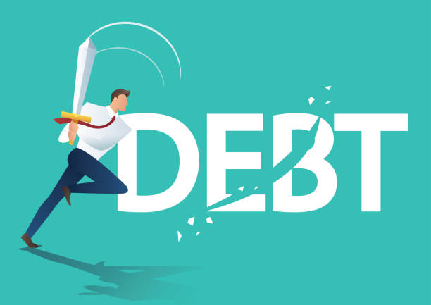 business man using sword cut debt, business concept of  debt settlement   vector illustration business man using sword cut debt, business concept of debt settlement vector illustration alimony stock illustrations
