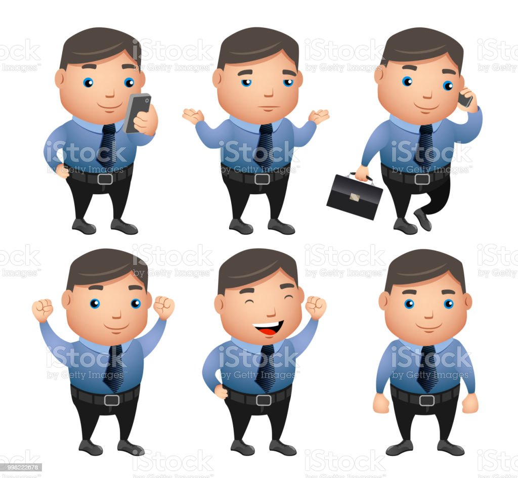 Business Man Vector Character Set With Gestures And Postures