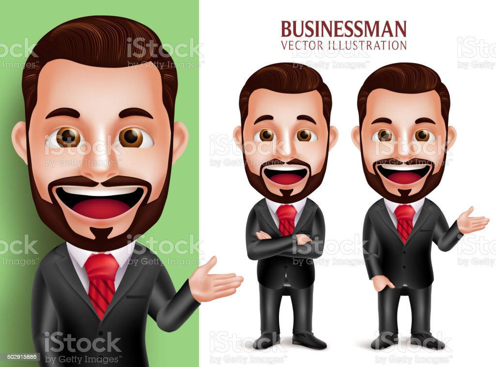 Business Man Vector Character Smiling in Corporate Attire for Presentation vector art illustration