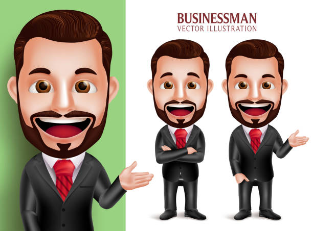 business man vector character smiling in corporate attire for presentation - caricatures stock illustrations, clip art, cartoons, & icons