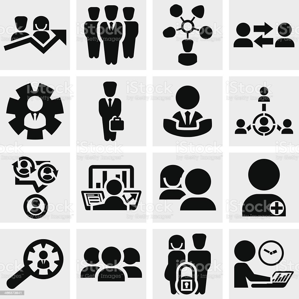 Business man vector icons set on gray. vector art illustration
