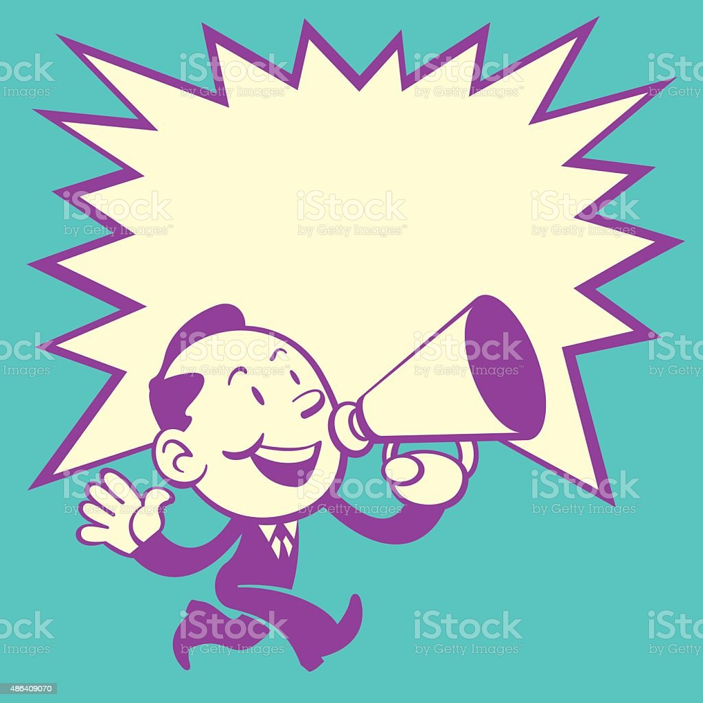 Business Man Walk and Shout Red Speaker 1 (Retro Style) vector art illustration