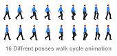 Business man walk cycle, Walk sequence, sprites, sprite, animation, looping, silhouette, spite sheet, sprite animation, sprites.