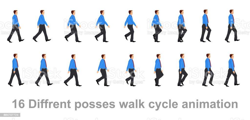 Business man walk cycle vector art illustration