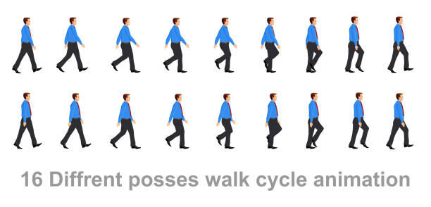 business man walk cycle - rower stock illustrations