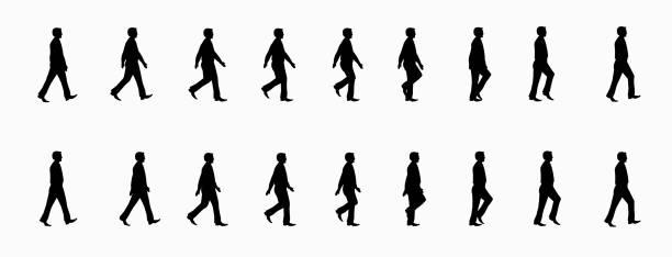 business man walk cycle - ходьба stock illustrations