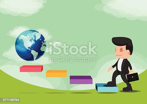 684803840istockphoto Business Man Walk Go World Success Vector 477149754