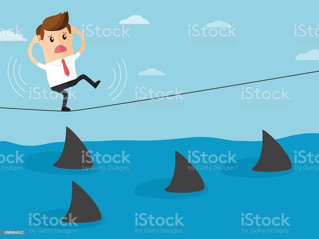 business man walk on rope over sea of sharks vector art illustration