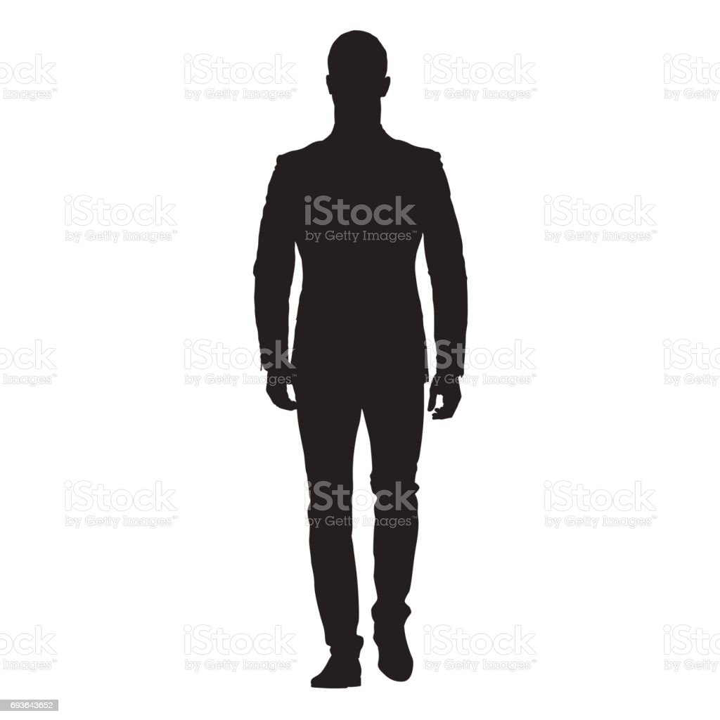 Business man walking forward, front view of adult man in suit, isolated vector silhouette vector art illustration
