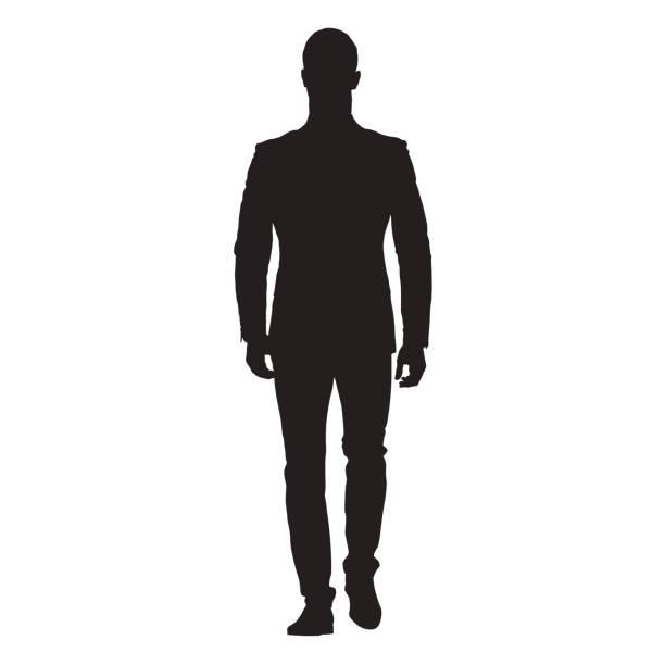 business-mann zu fuß nach vorne, front ansicht des erwachsenen mannes im anzug, isoliert vektor silhouette - herrenanzüge stock-grafiken, -clipart, -cartoons und -symbole
