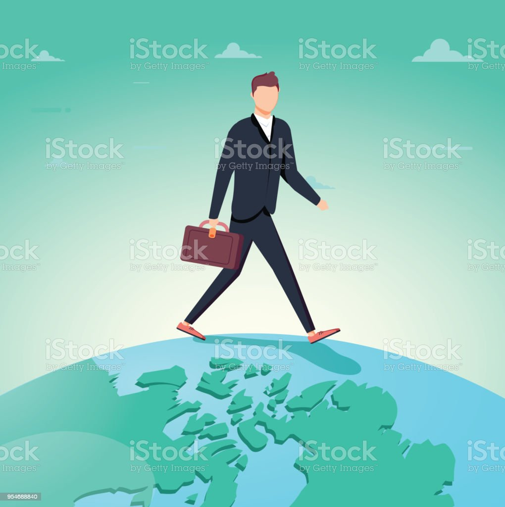 Business man walking over terrestrial globe crossing borders and ocean between continents. vector art illustration