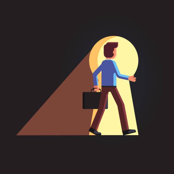 geschäftsmann, ein spaziergang durch die riesigen schlüsselloch. flache vektor-cliparts-illustration - mann tür heimlich stock-grafiken, -clipart, -cartoons und -symbole