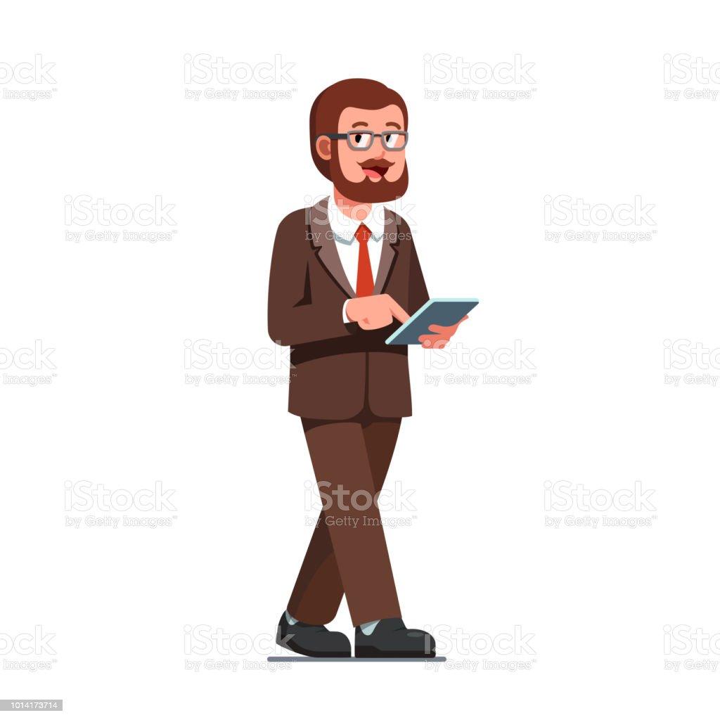 Homme Daffaires Marchant Avec Illustration De Tablette Ordinateur Vector Clipart Vecteurs Libres De Droits Et Plus D Images Vectorielles De Adulte Istock