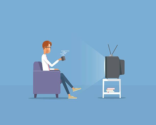 business Mann vor dem Fernseher-Konzept – Vektorgrafik