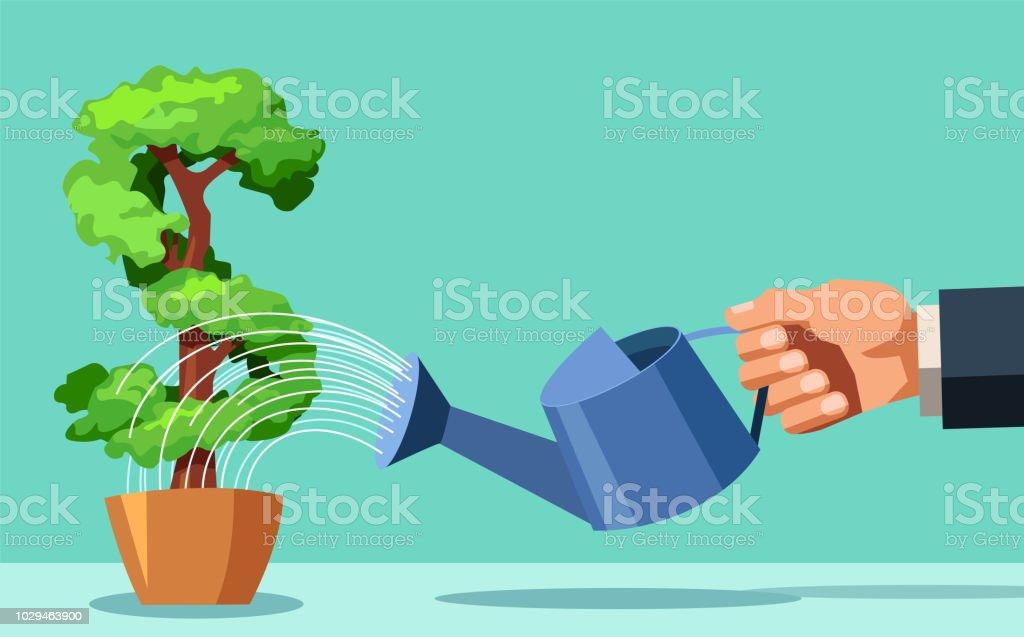 Business man watering money tree vector art illustration