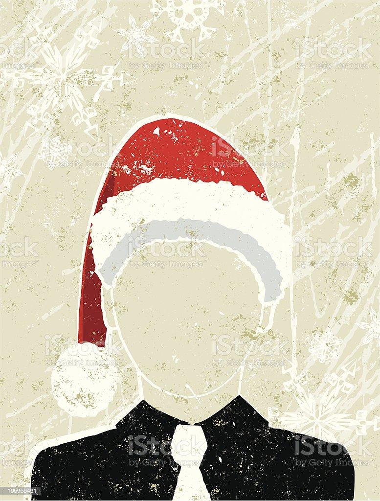 Hombre de negocios usando un Santa Hat - ilustración de arte vectorial