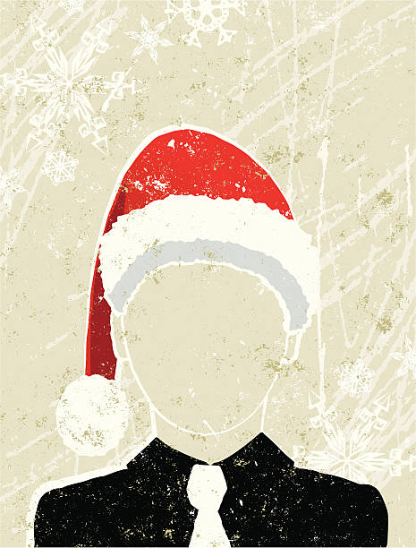 business man wearing a santa hat - office party stock illustrations, clip art, cartoons, & icons