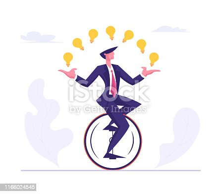Business Man Wearing Formal Suit Riding Monowheel Juggling with Glowing Light Bulbs. Businessman Character Racing in Leadership Competition. Finance Creative Idea Cartoon Flat Vector Illustration