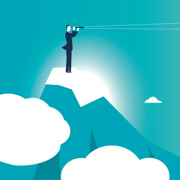 Business man with a spyglass on the top of a mountain vector art illustration