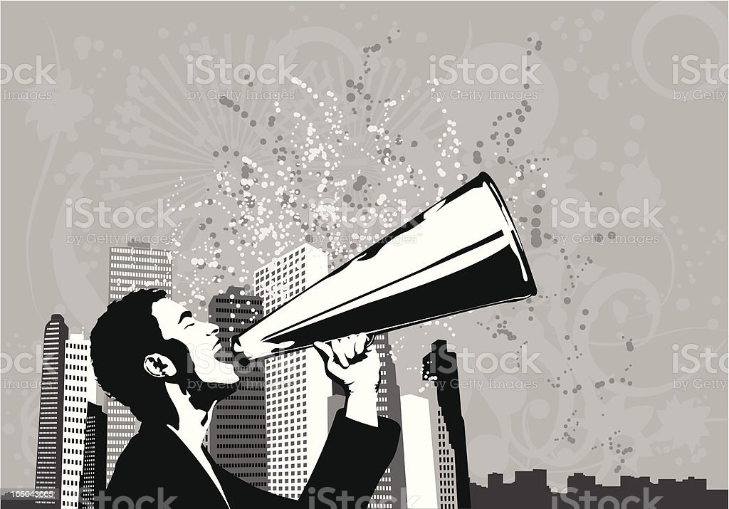 Business man with announcement vector art illustration