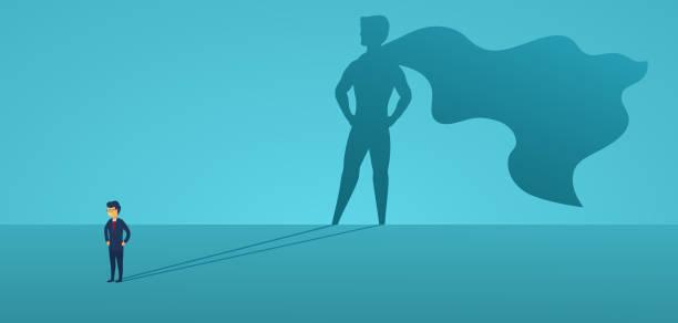 geschäftsmann mit großem schatten-superheld. supermanager-führer im geschäft. erfolgskonzept, führungsqualität, vertrauen, emanzipation. vector illustration flacher stil. - trust stock-grafiken, -clipart, -cartoons und -symbole