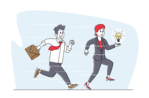 Business Man with Briefcase and Woman Holding Glowing Light Bulb Running. Businesspeople Characters Competition