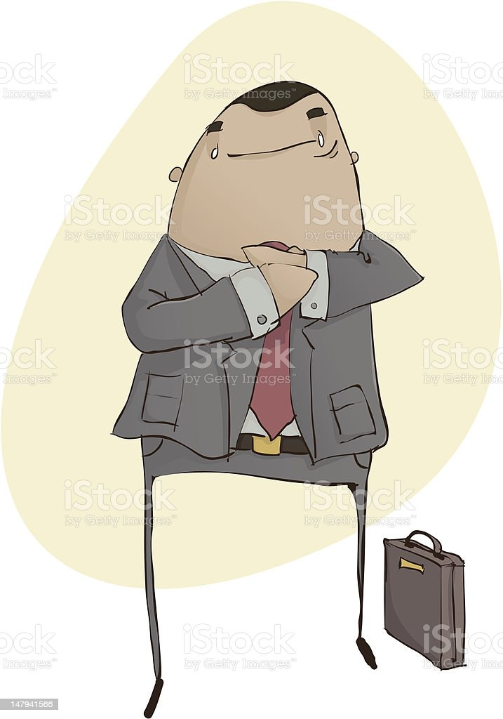 Business Man with Briefcase, Fixing His Tie vector art illustration