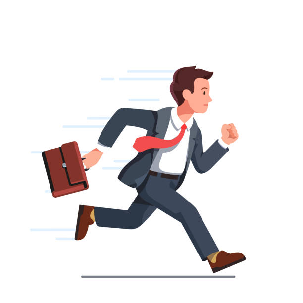 illustrazioni stock, clip art, cartoni animati e icone di tendenza di business man with briefcase running fast vector clipart illustration - business man
