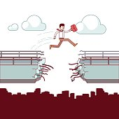 Business man with case jumping over broken bridge