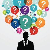Business man with colourful question ballons over his head. Eps10. Contains blending mode objects.