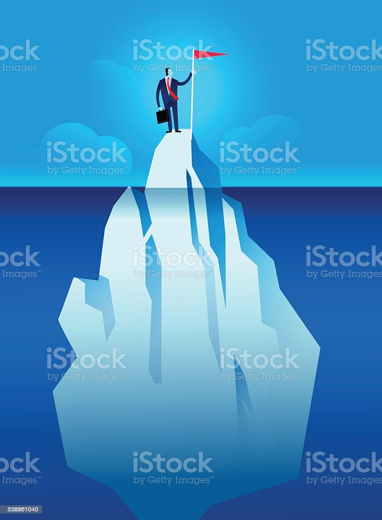 Business man with flag on the iceberg vector illustration vector art illustration