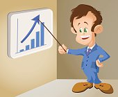 illustrated Businessman pointing to a growing statistical chart.