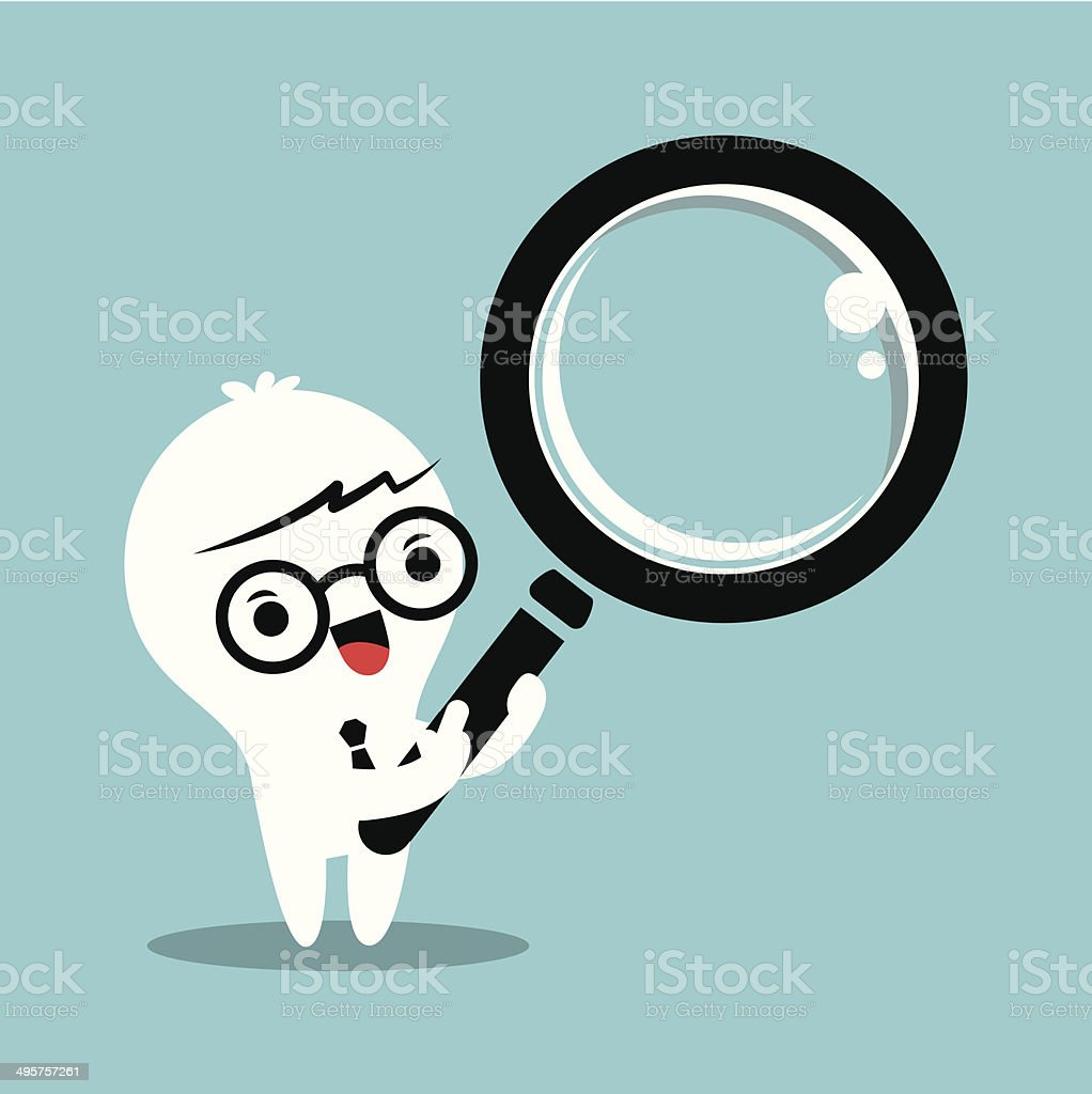business man with magnifying glass royalty-free stock vector art