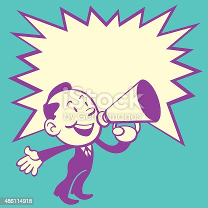 Retro Style of cute business man make announcement with a red speaker. Come with a big star speech bubble for text area.