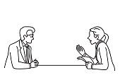 Vector illustration character of businessman and businesswoman at table, making discussion, presentation, planning, cooperation. Outline, linear, contour, thin line art, doodle, hand drawn sketch design.