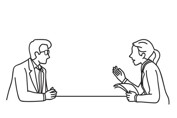 Business man woman discussing Vector illustration character of businessman and businesswoman at table, making discussion, presentation, planning, cooperation. Outline, linear, contour, thin line art, doodle, hand drawn sketch design. job interview stock illustrations