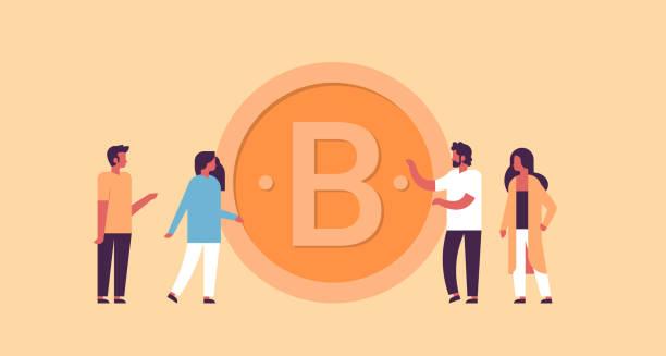 business man woman mining bitcoin crypto currency concept flat horizontal vector art illustration