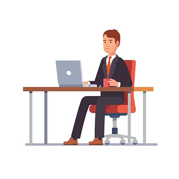 ilustrações, clipart, desenhos animados e ícones de homem de negócios trabalhando em sua mesa de escritório - business man