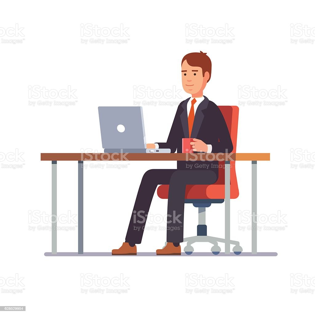 Business man working at his office desk ベクターアートイラスト