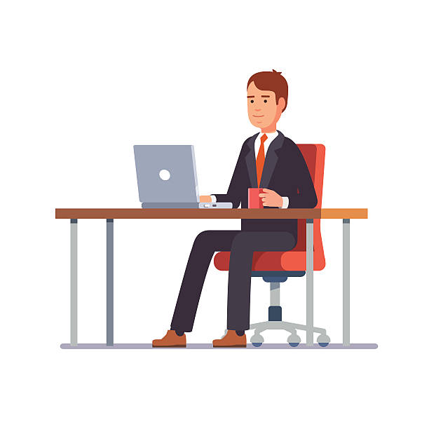 business man working at his office desk - schreibtischstühle stock-grafiken, -clipart, -cartoons und -symbole