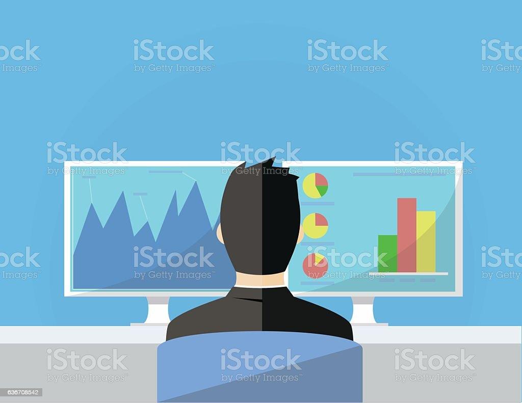 business man working in front of two monitors flat illustration – Vektorgrafik